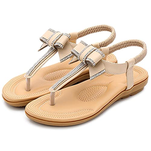 KovBexJa Sandalias De Verano con Lazo para Mujer Diamantes De Imitación Bohemios 2.5 cm Suela De Goma Tacón Plano Zapatos De Playa para Mujer Albaricoque