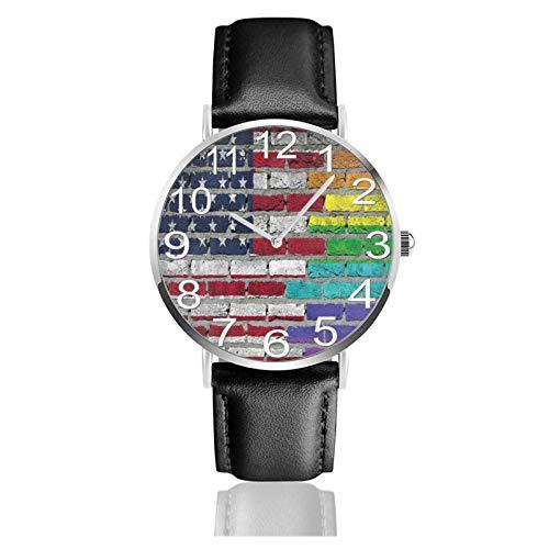 Reloj de Pulsera Bandera Estadounidense LGBT Pared de ladrillo Durable PU Correa de Cuero Relojes de Negocios de Cuarzo Reloj de Pulsera Informal Unisex