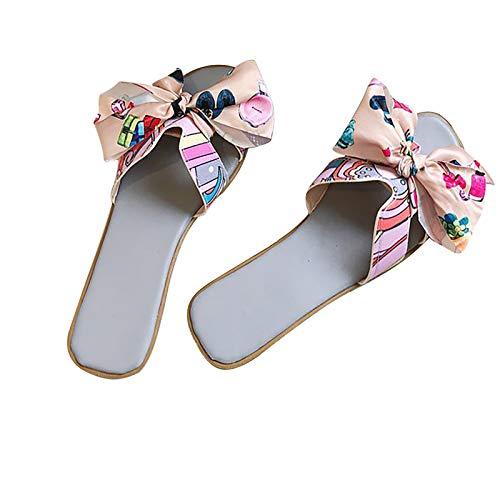 CYGGA Dames zomer slip-on kleurrijke strik plat strand open tenen ademende sandalen casual comfortabele indoor outdoor wandelsandalen