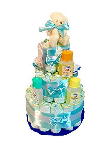 Windel-Torte Dodot besondere + Schnuller + Nenuco Lätzchen blau