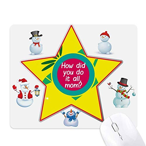 Mother Loves Strong Omnipotent Christmas Snowman Family Star Mauspad