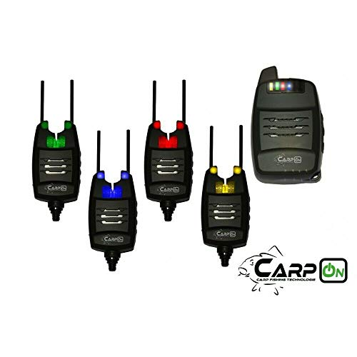 CarpOn Funk Bissanzeiger 4+1 Anti Diebstahl Funktion 1:1 Transportkoffer 180m