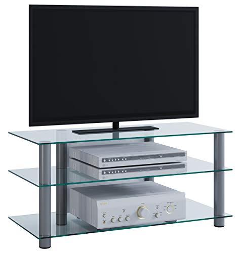 """VCM TV Rack Lowboard Konsole LCD LED Fernsehtisch Möbel Bank Glastisch Tisch Schrank Aluminium Klarglas \""""Netasa\"""""""