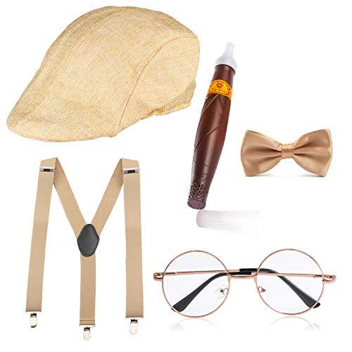 Haichen 1920er Jahre Herren Gatsby Gangster Kostüm Zubehör Set - Gatsby Newsboy Baskenmütze Hut Hosenträger Pre gebunden Fliege Brille Spielzeug gefälschte Zigarre (Beige)
