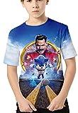 HAOSHENG Anime Camiseta 3D Impreso Niños Verano Manga Corta Sonic FanáticosT-Shirt Harajuku Casual para Niños(120)