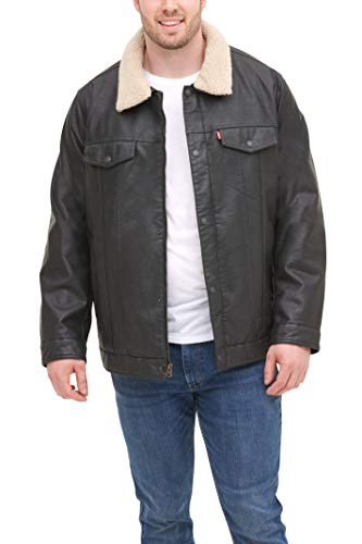 Levi's Men's Big and Tall Faux Leather Trucker Jacket with Detachable Collar, Black, Large