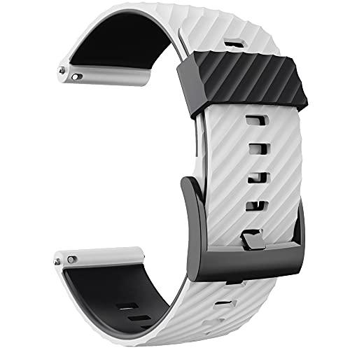 KINOEHOO Correas para relojes Compatible con Suunto 7/9/9 baro/D5/spartan sport Pulseras de repuesto.Correas para relojesde silicona.(blanco negro)