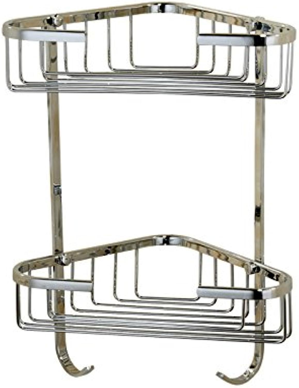 Shelf Copper Basket Full Copper Chrome Double-Layer Triangle Basket Basket Bathroom Corner Shelf