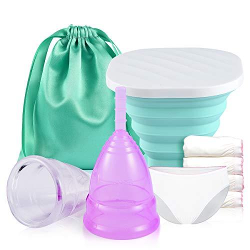 Menstruationstasse 2 Set, 1 gefalteten Sterilisationsbecher & 5 Paar Einweghöschen, 2020-FDA-zugelassen Weiches, flexibles, Silikon wiederverwendbare Menstrual Cup Alternative zu Tampons/Binden