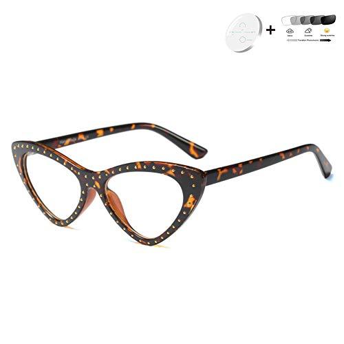 HQMGLASSES 2020 Cat Eye Progressive multifokale Lesebrille, asphärisch-Harz-Objektiv Photochromic Außen Reader geeignet für Büro/Nähen Dioptrien +1,0-+3,0,05,+2.0