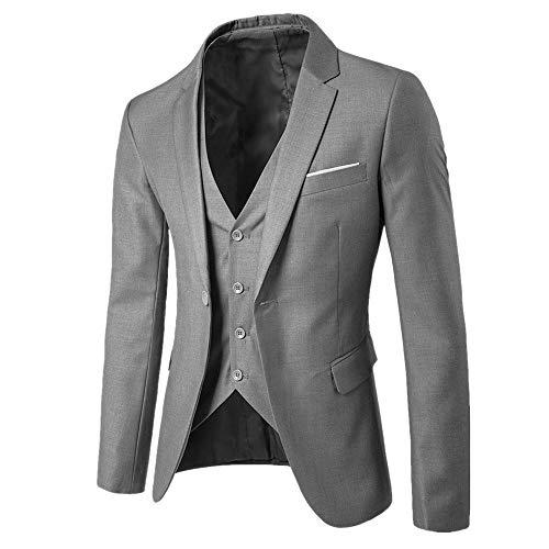 Mymyguoe Herrenanzug Slim 3-Piece Suit Blazer Business-Hochzeitsfestjacke Weste & Hose Men's Suit Wedding Party Jacket Vest Pantsherren Hochzeitsanzug StüCk Set Freizeitanzug Herren Fit Pieces