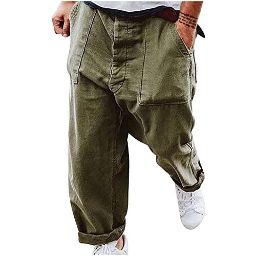 Pantalones de calle para hombre, con cremallera, estilo informal, holgados, hip hop, con pernera ancha recta, vintage, callejero, estilo vintage, verde, XXL