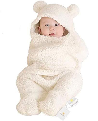 おくるみ 新生児 冬 ベビーおくるみ 足付き ベビー服 赤ちゃん 寝袋 新生児着ぐるみ 人気 出産祝い 記念撮影 防寒 あったかい 肌に優しい 無地 綿 フード付き ふわふわ クマさん ホワイト