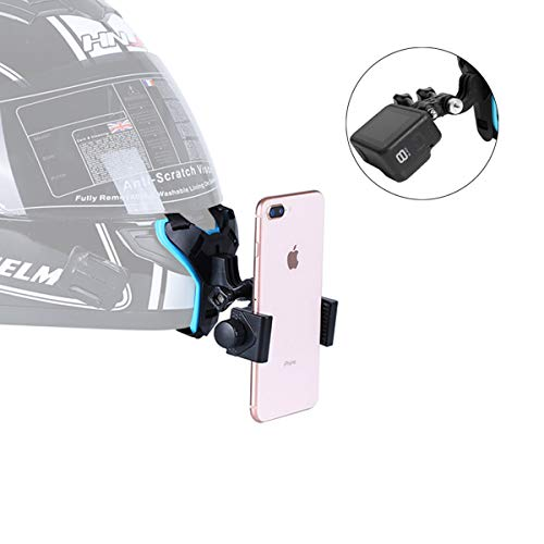 Helmet Chin Mount for Mobile Phone and GoPro, Motorcycle Strap Holder for iPhone Samsung,Compatible with GoPro Hero 9,8,7,6,5,4/3, Insta360 One R, AKASO,DJI OSMO,Etc and Most Action Cameras