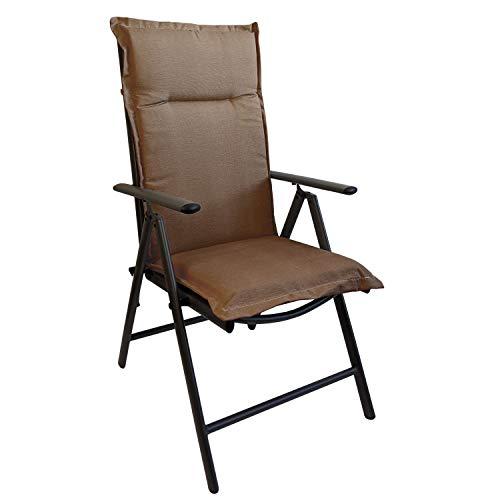 Multistore 2002 Elegante Gartenstuhlauflage Stuhlauflage Polsterauflage Hochlehner Taupe 120x45cm - 5cm dick Sitzauflage Sitzpolsterauflage Sitzkissenpolster