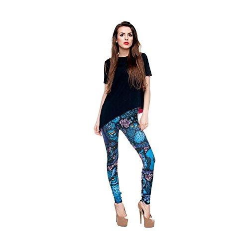 Hanessa Frauen Leggins Bedruckte Leggings Hose Frühling Sommer Kleidung Blaue Eulen Eule bei Nacht L108