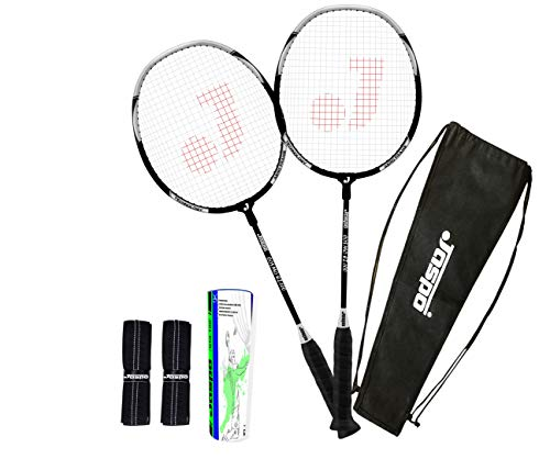 jaspo Cosmo EZ-100 Plus Aluminum (2 Badminton+Feather Shuttlecock + Carry Bag+Grip   Multicolour Racket)