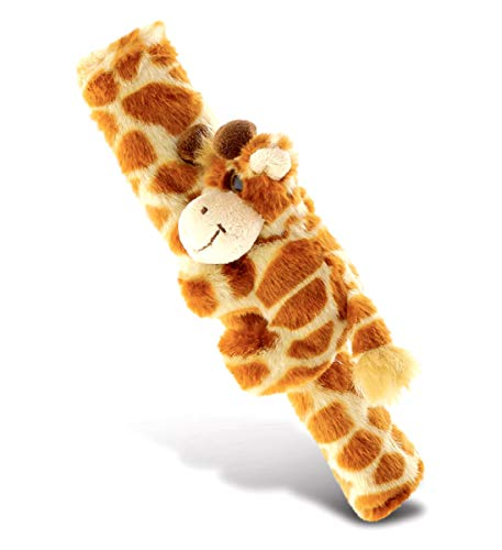 DolliBu Giraffe Plush Car Seatbelt Cover - Soft Fluffy Plush Cushion Support for Safety Seat Belt Strap Cover, Decorative Wild Life Stuffed Animal Padded Toy, Cute Vehicle Accessory for Kids & Adults