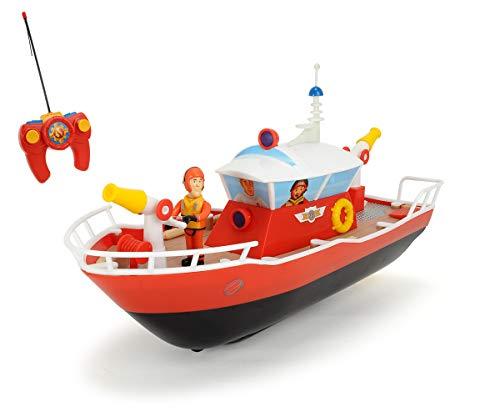 Dickie Toys RC Feuerwehrmann Sam Titan, funkferngesteuertes Boot mit verschiedenen Funktionen, Wasserspritze, inkl. Sam Figur, 29 cm