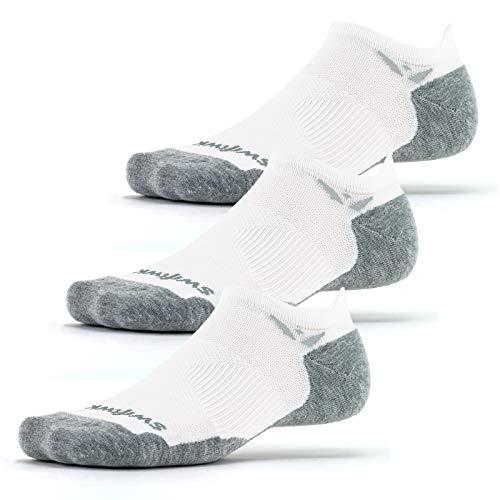 Swiftwick- MAXUS ZERO Tab (3 Pairs) Running & Golf Socks, Maximum Cushion (White, Large)