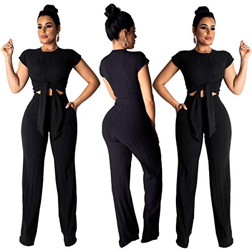 Mark Stars New 2020 Spring Summer Women Two Piece Set Top and Pants Plus Size Outfits Tracksuit Sweatsuit Solid Short Tops Sashes Long Trousers