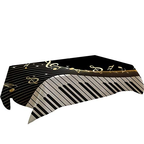 Mantel de mesa rectangular con diseño de piano, para decoración del hogar, 140 x 140 cm