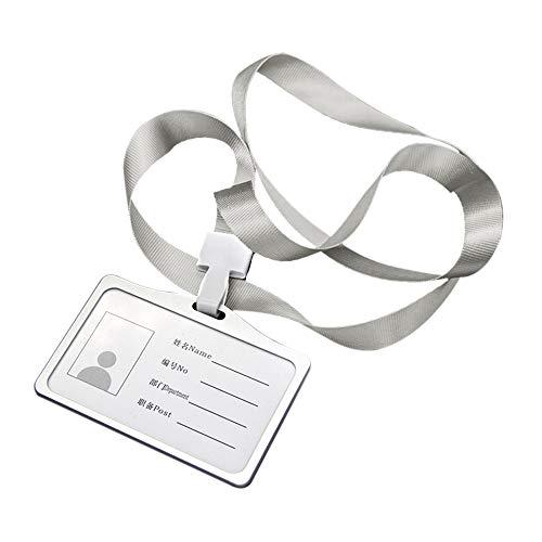 Hylotele ID Carte Porta Badge con Cordoncino Horizontal Fundas de Tarjeta de Identificación con Cordón, Bastidor de Aleación de Aluminio