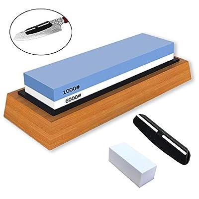 Sharpening Stone Whetstone Knife Dual Side Grit 1000/6000 Best Whetstone Sharpener for Kitchen | NonSlip Bamboo Base & Angle Guide