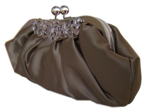 DIVA-MODE kleine Abendtasche,Satin-Clutch,26x10 cm,Dunkelgrau