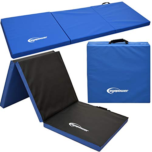EYEPOWER Colchoneta de Entrenamiento Gimnasia XL 180x60x5cm Plegable Azul