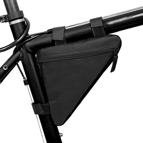 Nicoone Bolsa de marco de bicicleta, tela Oxford, bolsa de manillar de tubo superior frontal para senderismo y camping, color negro