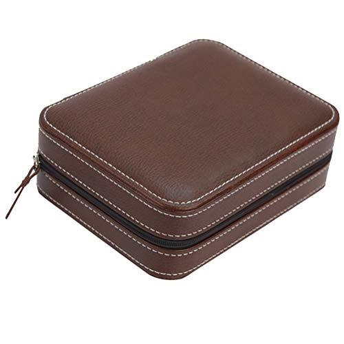 Hemobllo Leder Uhrenbox Fall Schmuck Display Organizer Box Armbanduhr Lagerung Inhaber mit Reißverschluss Vier Sätze (Kaffee)