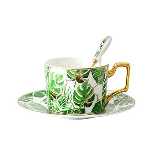 Taza de Latte Art Hueso China Reutilizable Taza de café, taza de taza de taza de café, creativa, taza de café de cerámica simple con platillo y una cuchara, con un juego de 3, adecuado para café espre