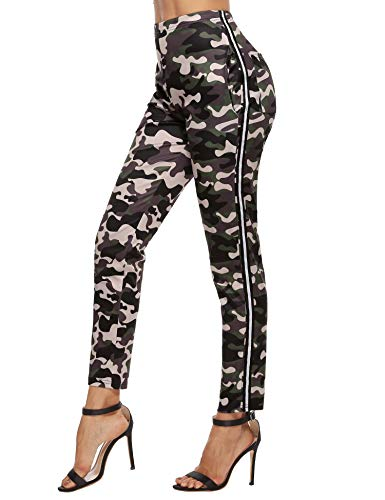Akalnny Mallas de Deports Largas Pantalones Deportivos Leggings Mujer Elásticos Pantalon de Camuflaje con Banda Lateral para Yoga Running Fitness