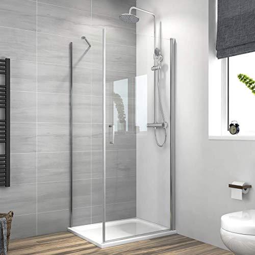 Meykoe Duschkabine 70x90cm Duschabtrennung Duschtür Schwingtür mit Seitenwand, Duschwand 6mm ESG Nano Echtglas Höhe 195cm