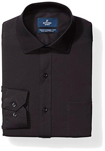 Buttoned Down Marca Amazon – Camisa de Vestir de Popelina elástica con Botones para Hombre, sin Planchar, Color Negro, Cuello de 36,8 cm, Manga de 81,2 cm