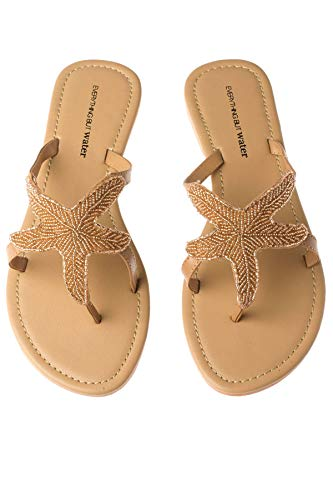 Olivia Miller Women's Beaded Starfish Flip Flop Thong Sandals Champagne 6