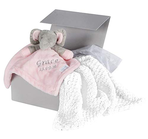 Hoolaroo Personalised Baby Gift Set Pink Embroidered Elephant Comforter Blanket Personalised Gifts Baby Girl