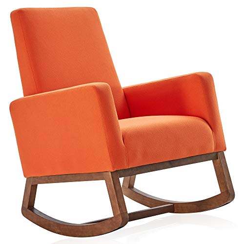 BELLEZE Modern Rocking Chair Upholstered Fabric High Back Armchair Padded Seat for Living Room, Orange
