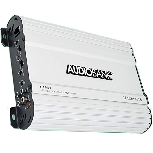 Audiobank Monoblock 1600 WATTS Amp Class AB Car Audio Stereo Amplifier P1601 Heavy-Duty Aluminum Alloy Heatsink, Class A-B Operation Remote On/Off Circuit
