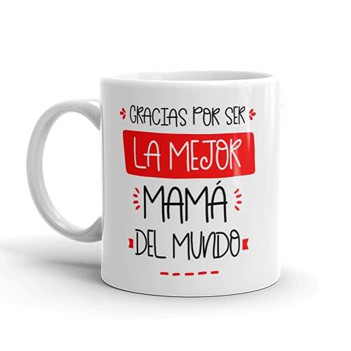 Kembilove Taza regalo día de la madre – Tazas Desayuno para Mamá con Mensaje Gracias por ser la Mejor mamá del mundo – Tazas originales – Regalo para madres