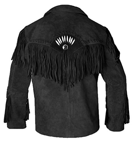 REDWOLF Western Cowboy Style - Chaqueta de Piel de Ante con Flecos para Hombre D12 XXS-5XL Negro Y Marrón XXXXX-Large