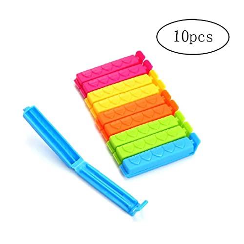 LAANCOO Clips 10pcs Bevara Sellado de la Bolsa de plástico Alimentos Clips Siempre presentes Clip Snack-Cierre del Bolso Bolsas Clip decoración Color al Azar Inicio