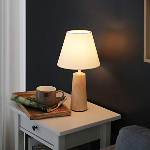Vintage Weiß Tisch- & Nachttischlampen Retro Kreativ Stoff-Holz Tischleuchte Schlafzimmer Wohnzimmer Hotel Studio Nachttischlampe Moderne Kunst Tischlampe Mit Holzfuß Schreibtischlampe Nachtlicht