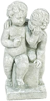 Solid Rock Stoneworks quality assurance Twin Cherubs Tall Statue Max 68% OFF 20in Marble Stone