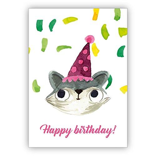 Grappige geschilderde verjaardagskaart met partykat en confetti als felicitatie voor het verjaardagskind: Happy Birthday • nobele felicitatiekaarten voor verjaardag met enveloppen voor vrienden en familie 4 Grußkarten multicolor