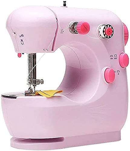 NKTJFUR Máquina de coser para el hogar con bloqueo para principiantes, mini máquina de coser eléctrica multifuncional, máquina de coser con todo tipo de telas (rosa) y rosa (color: rosa)