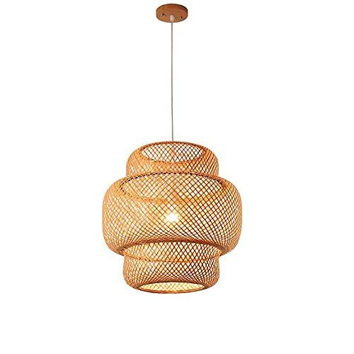 KAIKEA E27Lámpara Colgante de bambú Tejida a Mano, lámpara Colgante Tejida a Mano de ratán, candelabros Naturales Luz Tejida con Forma de cúpula 1 luz Colgante para Cocina, casa de Campo, Beige, 15,7