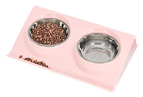 Ciotola per Cani Gatti in Acciaio Inox, Speyang Pet Ciotole Doppia, Gatti Ciotola Portatile, con Supporto (rosa)