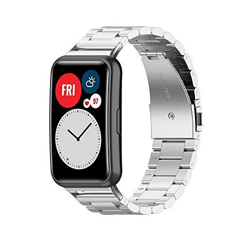 TopTen Correa de reloj compatible con correa de reloj inteligente HUAWEI WATCH Fit, accesorios de repuesto de pulsera de acero inoxidable Correa de muñeca ajustable (plata)
